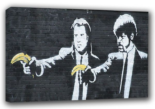 Banksy: Pulp Fiction (Banana Guns) Graffiti Fine Art Canvas. Sizes: A3/A2/A1 (00344)
